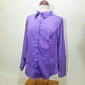 NWT Gorgeous Lane Bryant Purple Button Down Sz 14